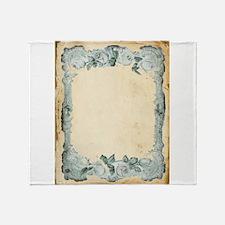 Vintage Blue Roses Frame Throw Blanket