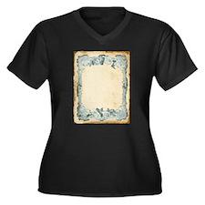Vintage Blue Roses Frame Plus Size T-Shirt