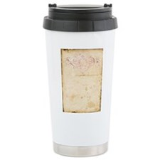Vintage Pink Damask Scroll Travel Mug