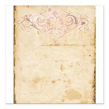 """Vintage Pink Damask Scroll Square Car Magnet 3"""" x"""