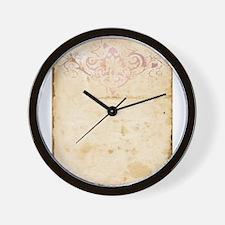 Vintage Pink Damask Scroll Wall Clock