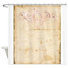 Vintage Pink Damask Scroll Shower Curtain