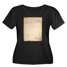 Vintage Pink Damask Scroll Plus Size T-Shirt