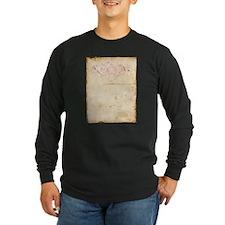 Vintage Pink Damask Scroll Long Sleeve T-Shirt