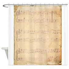 Vintage Pink Music Sheet Shower Curtain