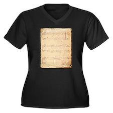 Vintage Pink Music Sheet Plus Size T-Shirt