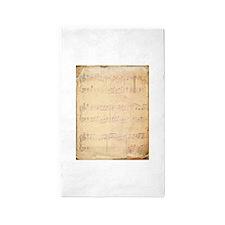 Vintage Pink Music Sheet 3'x5' Area Rug