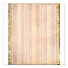 """Vintage Pink Stripes Square Car Magnet 3"""" x 3"""""""
