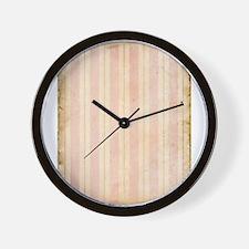 Vintage Pink Stripes Wall Clock