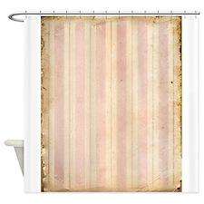 Vintage Pink Stripes Shower Curtain