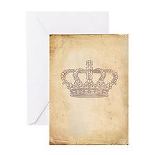 Vintage Pink Royal Crown Greeting Card