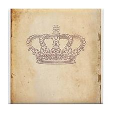Vintage Pink Royal Crown Tile Coaster