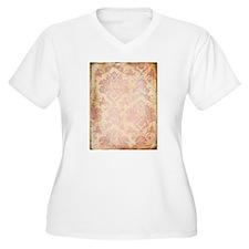 Vintage Pink Damask Plus Size T-Shirt