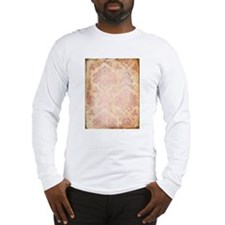 Vintage Pink Damask Long Sleeve T-Shirt
