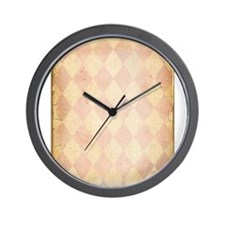 Vintage Pink Diamond Print Wall Clock