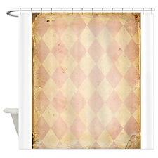Vintage Pink Diamond Print Shower Curtain