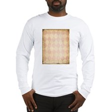 Vintage Pink Diamond Print Long Sleeve T-Shirt