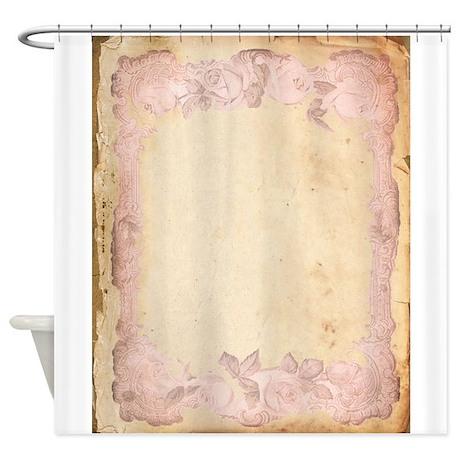 Vintage Rose Frame Shower Curtain