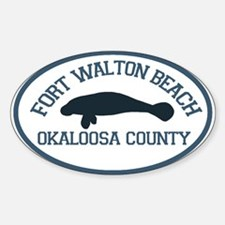 Fort Walton Beach - Manatee Design. Sticker (Oval)