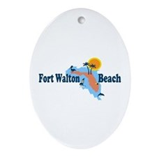 Fort Walton Beach - Map Design. Ornament (Oval)