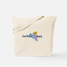 Fort Walton Beach - Map Design. Tote Bag