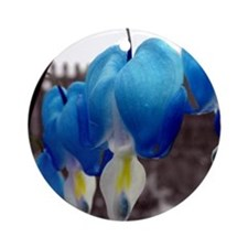 Bleeding Heart Flowers (Blue Edit) Ornament (Round