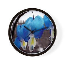 Bleeding Heart Flowers (Blue Edit) Wall Clock
