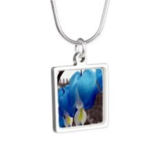Bleeding Heart Flowers (Blue Edit) Necklaces