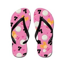 Volleyball Player Number 7 Flip Flops