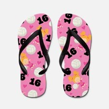 Volleyball Player Number 16 Flip Flops