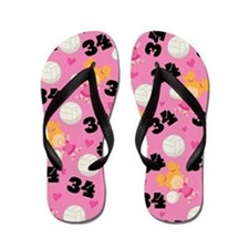 Volleyball Player Number 34 Flip Flops