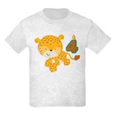 4th Birthday Leopard T-Shirt