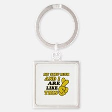 Me and Step Mom are like this Square Keychain