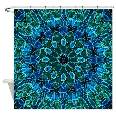 Blue Green Flower Gems Shower Curtain By Zandiepantshomedecor