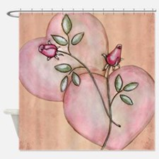 Romantic Hearts and Roses Shower Curtain