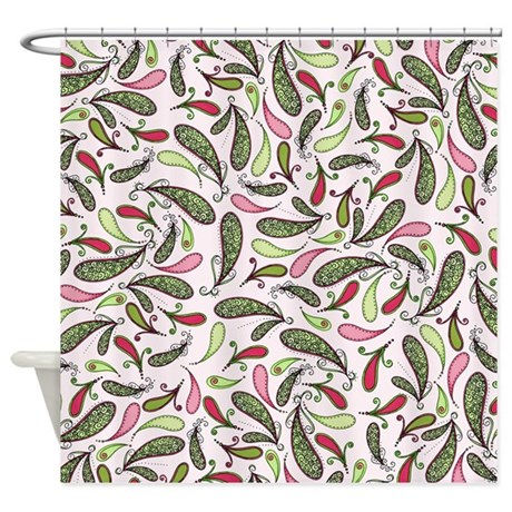 pretty pink and green paisley shower curtain by oandco. Black Bedroom Furniture Sets. Home Design Ideas