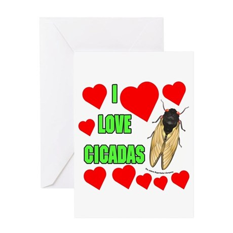 I Love Cicadas Greeting Card