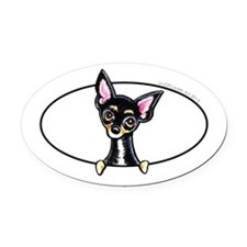 Chihuahua B/T Smooth Peeking Oval Car Magnet