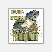 "Fishing mom Square Sticker 3"" x 3"""