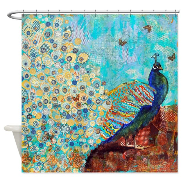 Peacock Paparazzi Collage Bathroom Shower Curtain By