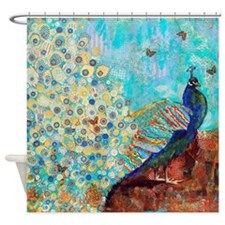 Peacock Paparazzi Collage Bathroom Shower Curtain