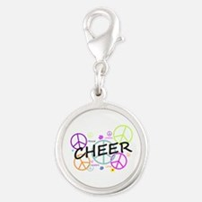 Cheer Peace Sign Silver Round Charm