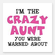 """Crazy Aunt Square Car Magnet 3"""" x 3"""""""