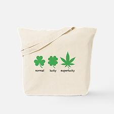 Superlucky Hemp Leaf (black font) Tote Bag