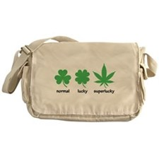 Superlucky Hemp Leaf (black font) Messenger Bag