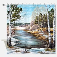 Woodland Stream Canvas Painting Shower Curtain