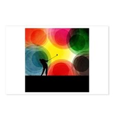 Colorful Retro Silhouette Golfer Postcards (Packag