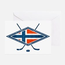 Norsk Ishockey Flag Greeting Card