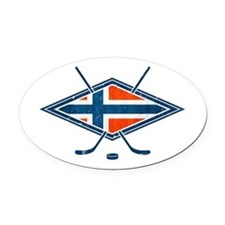 Norsk Ishockey Flag Oval Car Magnet