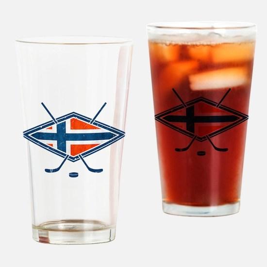 Norsk Ishockey Flag Drinking Glass